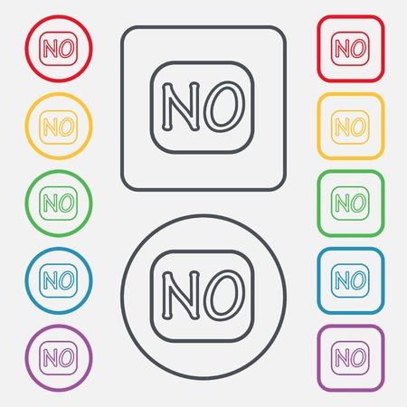 norwegian: Norwegian language sign icon. NO Norway translation symbol. Set of colored buttons. illustration
