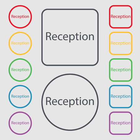 reception table: Reception sign icon. Hotel registration table symbol. Symbols on the Round and square buttons with frame. illustration