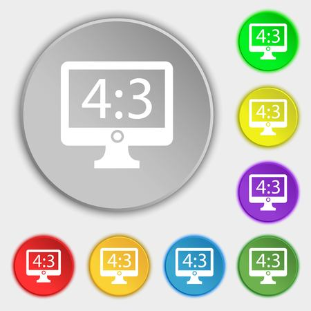 aspect: Aspect ratio 4 3 widescreen tv icon sign. Symbols on eight flat buttons. illustration