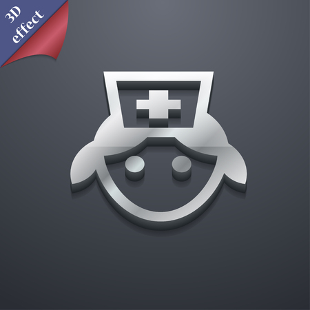 3d nurse: nurse icon symbol. 3D style. Trendy, modern design with space for your text illustration. Rastrized copy Stock Photo