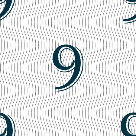 number nine: number Nine icon sign. Seamless pattern with geometric texture. illustration