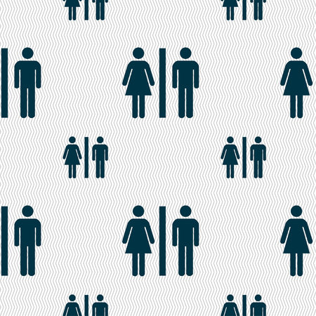 royal family: silhouette of a man and a woman icon sign. Seamless pattern with geometric texture. illustration