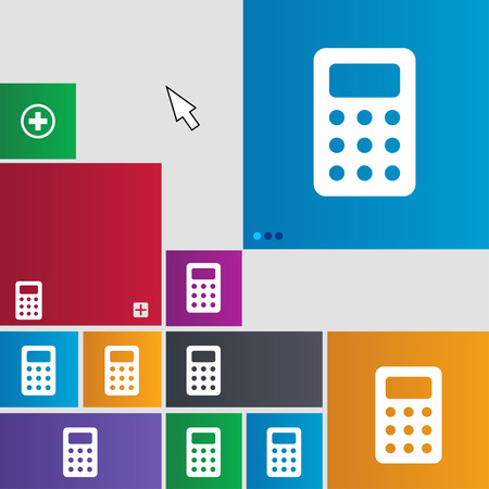 Calculator, Bookkeeping icon sign. buttons. Modern interface website buttons with cursor pointer. illustration