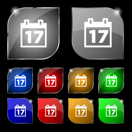 reminder icon: Calendar, Date or event reminder icon sign. Set of ten colorful buttons with glare. illustration