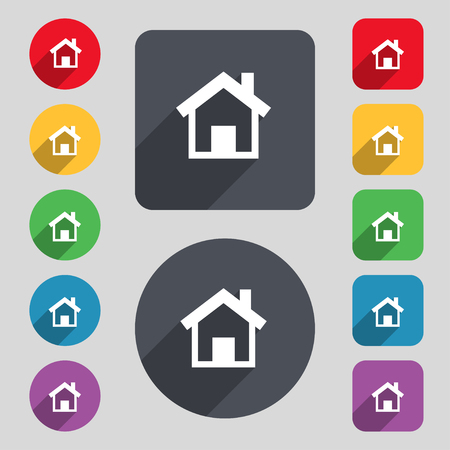 page long: Home, Main page icon sign. A set of 12 colored buttons and a long shadow. Flat design. illustration