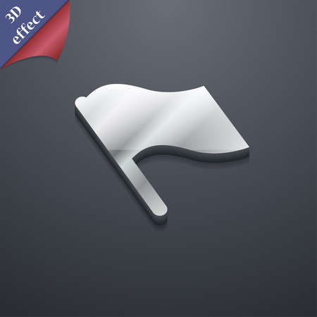 abort: Finish, start flag icon symbol. 3D style. Trendy, modern design with space for your text illustration. Rastrized copy