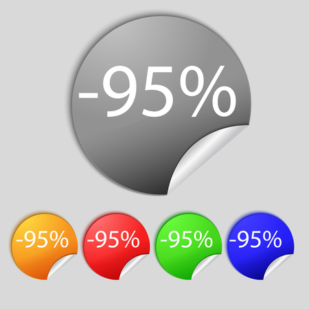 95: 95 percent discount sign icon. Sale symbol. Special offer label. Set of colored buttons illustration