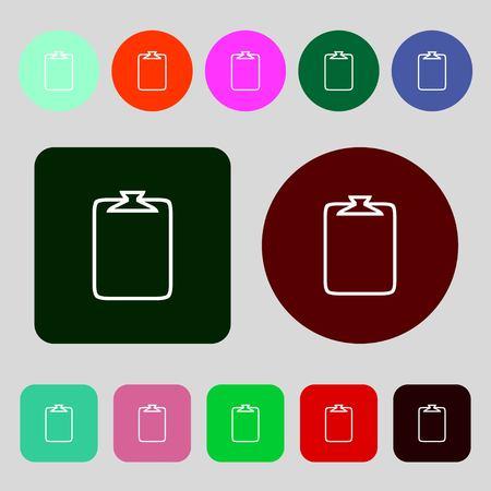 attach: File annex icon. Paper clip symbol. Attach sign.12 colored buttons. Flat design. illustration