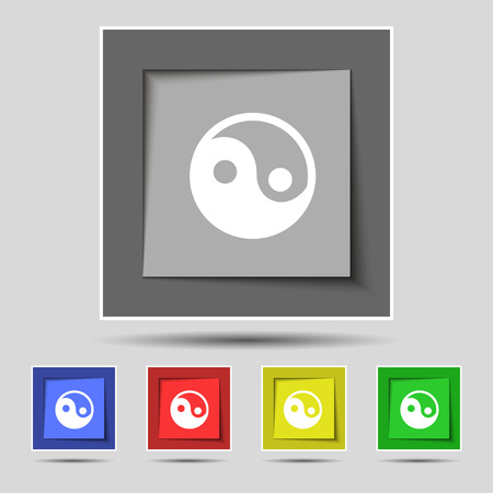 ying yan: Ying yang icon sign on the original five colored buttons. illustration