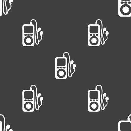 portable audio: MP3 player, headphones, music icon sign. Seamless pattern on a gray background. illustration