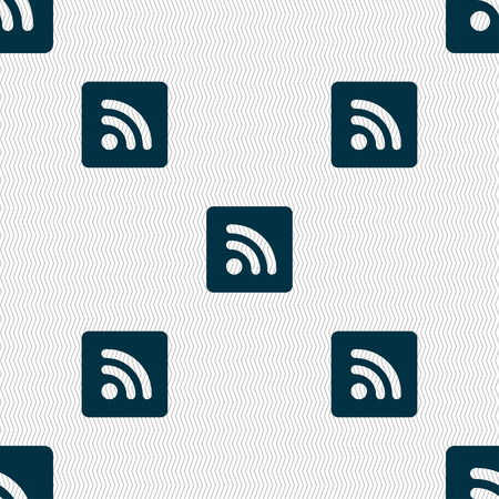 rss feed icon: RSS feed icon sign. Seamless pattern with geometric texture. illustration