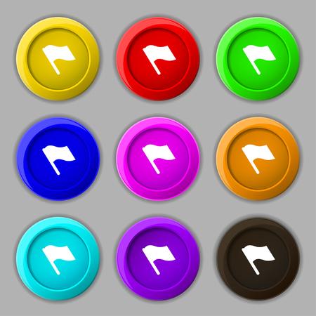 terminate: Finish, start flag icon sign. symbol on nine round colourful buttons. illustration