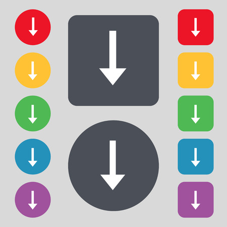 down load: Arrow down, Download, Load, Backup icon sign. A set of 12 colored buttons. Flat design. illustration