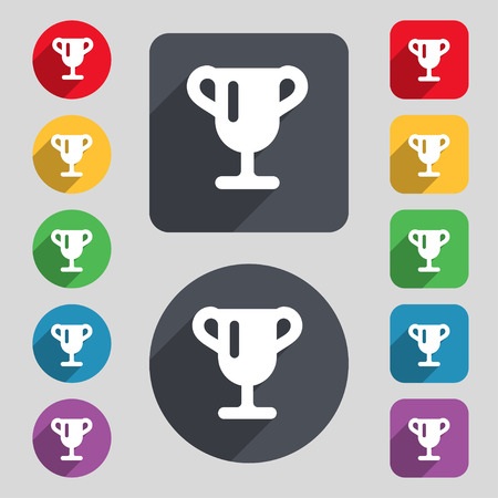 awarding: Winner cup, Awarding of winners, Trophy icon sign. A set of 12 colored buttons and a long shadow. Flat design. illustration