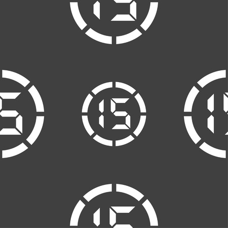 corner clock: 15 second stopwatch icon sign. Seamless pattern on a gray background. illustration