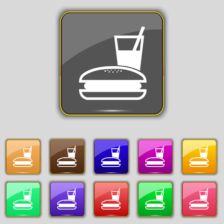 lunch box: lunch box icon sign. Set with eleven colored buttons for your site. illustration Stock Photo