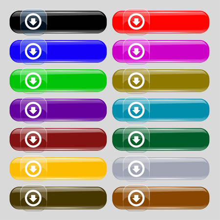 down load: Arrow down, Download, Load, Backup icon sign. Set from fourteen multi-colored glass buttons with place for text. illustration