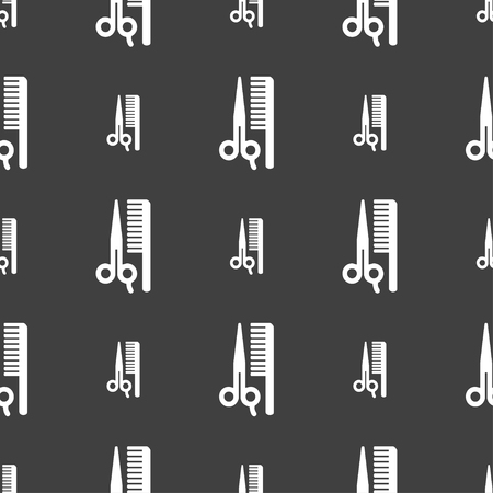 coiffeur: hair icon sign. Seamless pattern on a gray background. illustration