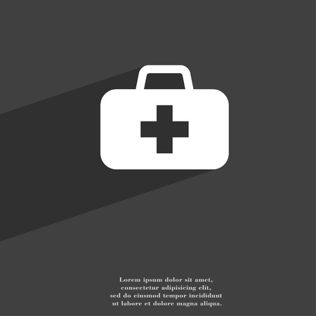 medicine chest: medicine chest icon symbol Flat modern web design with long shadow and space for your text. illustration