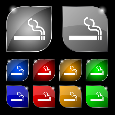 pernicious habit: cigarette smoke icon sign. Set of ten colorful buttons with glare. illustration Stock Photo