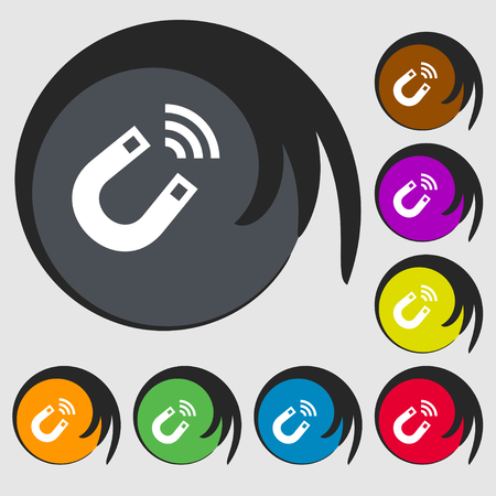 electromagnetism: Magnet icon sign. Symbol on eight colored buttons. illustration