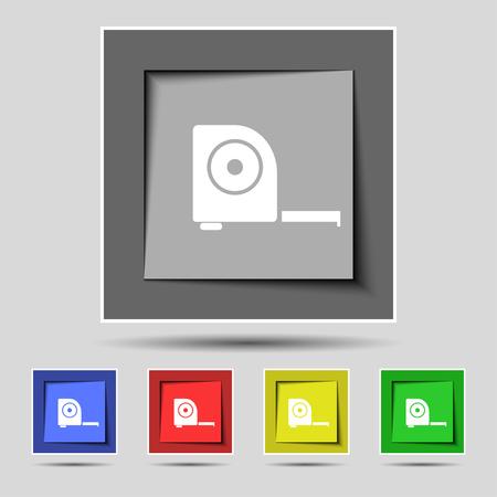 cintas metricas: icono de la construcci�n de la ruleta firmar en los cinco botones de colores originales. ilustraci�n Foto de archivo