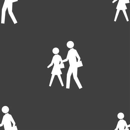 crosswalk: crosswalk icon sign. Seamless pattern on a gray background. illustration Stock Photo