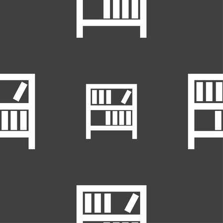 encyclopedias: Bookshelf icon sign. Seamless pattern on a gray background. illustration Stock Photo