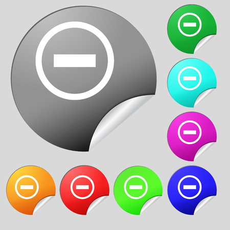 minus sign: Minus sign icon. Negative symbol. Zoom out. Set of eight multi colored round buttons, stickers. illustration