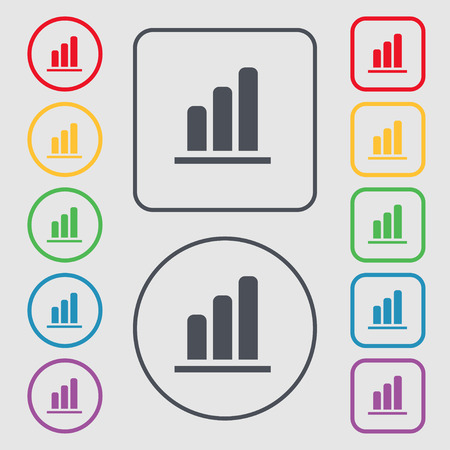 upturn: Growth and development concept. graph of Rate icon sign. symbol on the Round and square buttons with frame. illustration