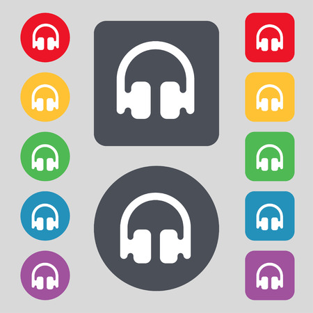 earphones: Headphones, Earphones icon sign. A set of 12 colored buttons. Flat design. illustration