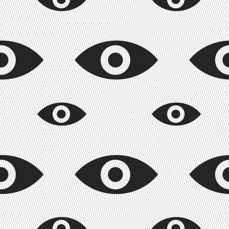 intuition: Eye, Publish content, sixth sense, intuition icon sign. Seamless pattern with geometric texture. illustration