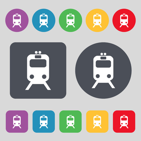brigantine: train icon sign. A set of 12 colored buttons. Flat design. illustration Stock Photo
