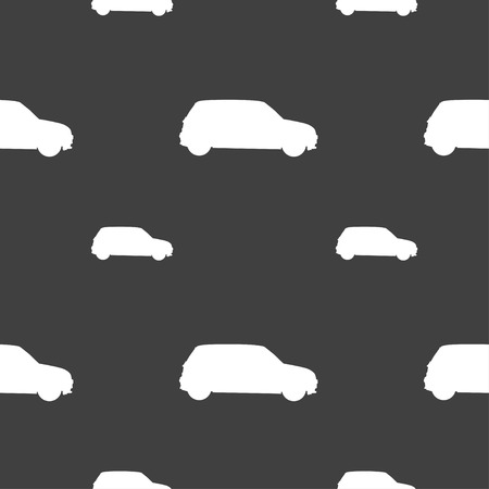 jeep: Jeep icon sign. Seamless pattern on a gray background. illustration Stock Photo