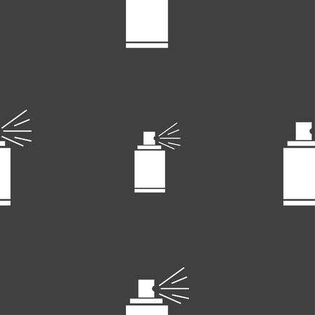 spray paint can: Graffiti spray can sign icon. Aerosol paint symbol. Seamless pattern on a gray background. illustration Stock Photo