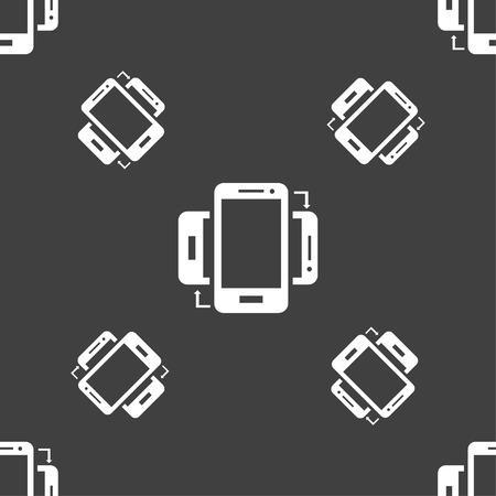 synchronization: Synchronization sign icon. smartphones sync symbol. Data exchange. Seamless pattern on a gray background. illustration Stock Photo