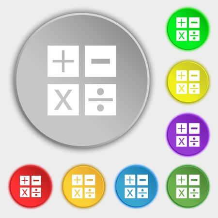 multiplicacion: Multiplicaci�n, divisi�n, m�s, menos icon s�mbolo de matem�ticas matem�ticas. S�mbolos en ocho botones planos. ilustraci�n