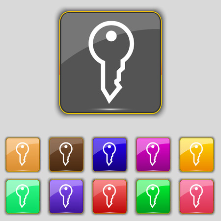 latchkey: Key icon sign. Set with eleven colored buttons for your site. illustration Stock Photo
