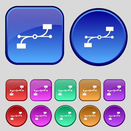 bezier: Bezier Curve icon sign. A set of twelve vintage buttons for your design. illustration