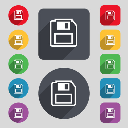 floppy drive: floppy disk icon sign. A set of 12 colored buttons and a long shadow. Flat design. illustration