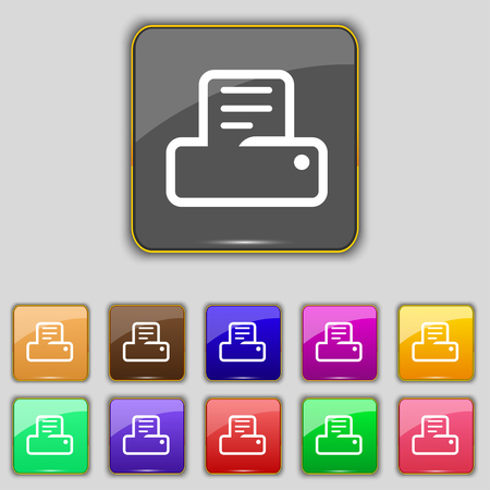 eleven: Printing icon sign. Set with eleven colored buttons for your site. illustration