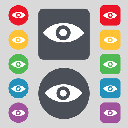 sixth sense: Eye, Publish content, sixth sense, intuition icon sign. A set of 12 colored buttons. Flat design. illustration Stock Photo
