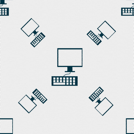 qwerty: Computer monitor and keyboard Icon. Seamless pattern with geometric texture. illustration Stock Photo