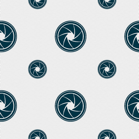 diaphragm: diaphragm icon. Aperture sign. Seamless pattern with geometric texture. illustration Stock Photo
