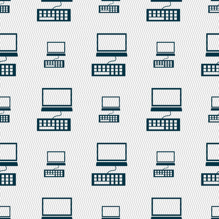 qwerty: Computer monitor and keyboard Icon. Seamless abstract background with geometric shapes. illustration