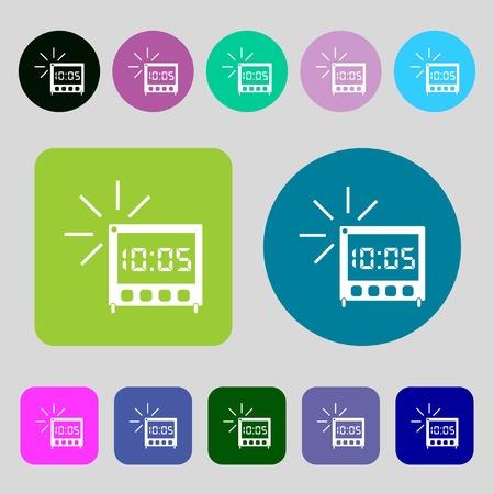digital clock: digital Alarm Clock icon sign.12 colored buttons. Flat design. illustration Stock Photo