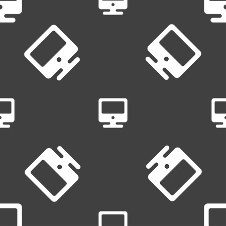 incrustation: monitor icon sign. Seamless pattern on a gray background. illustration Stock Photo