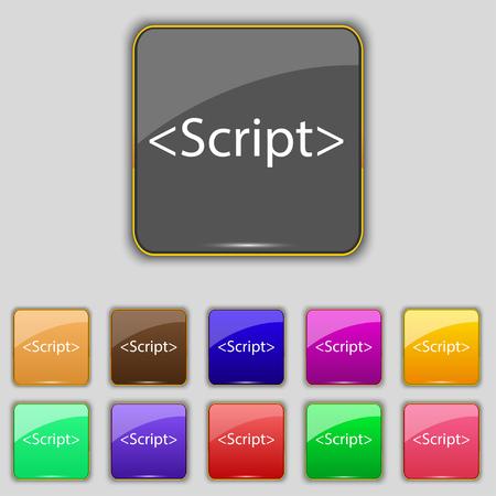 js: Script sign icon. Javascript code symbol. Set of colored buttons. illustration
