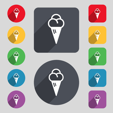 souffle: ice cream icon sign. A set of 12 colored buttons and a long shadow. Flat design. illustration Stock Photo