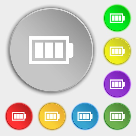 fully: Battery fully charged sign icon. Electricity symbol. Symbols on eight flat buttons. illustration